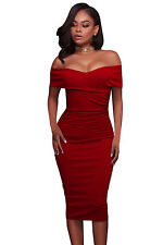Women Ladies Ruched Off Shoulder Bodycon Midi Cocktail Formal Bridesmaid Dresses