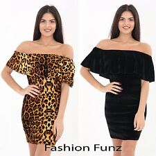 Womens Velvet Off Shoulder Frill Bardot Leopard Print Bodycon Mini Party Dress