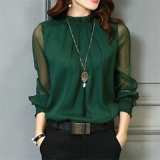 Chiffon Blouse  New Women Tops Long Sleeve Stand Neck Work Wear Shirts Elegant L