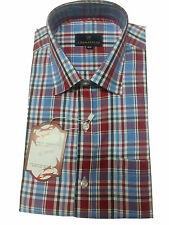 Gents / Mens Quality Formal Shirt (Dark Red Blue Checked) 35