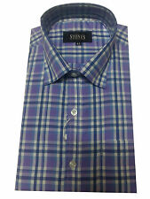 Gents / Mens Quality Formal Shirt (Dark Red Blue Checked) 37