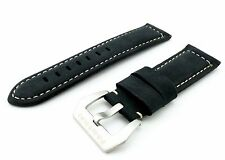 Black Suede/Leather Strap/Band Buckle for Officine Panerai Watch 22mm 24mm 26mm