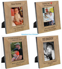 PERSONALISED Wooden Oak DADDY Picture PHOTO Frame Gift Ideas for Birthday