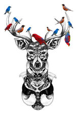 Deer Stag with birds iron on t shirt transfer or sticker