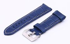 Blue Genuine Leather Strap/Band Buckle for Panerai Luminor Watch 20 22 24 26mm