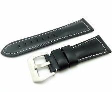 Black Genuine Leather Strap/Band Buckle for Officine Panerai Watch 20 22 24 26mm