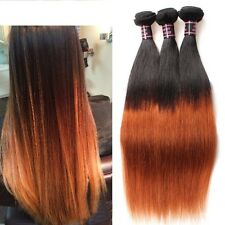 300g STRAIGHT OMBRE 2 TONE Brazilian Peruvian Real Virgin Human Hair Extension7A