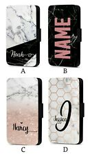 Personalised Initial Custom Marble Pattern Faux Leather Flip Phone Case Cover