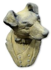 """Funny Dog Terrier wall plaque bust fragment stone home garden ornament 30cm/12""""H"""