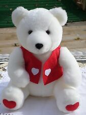 NEW WHITE TEDDY BEAR IN VEST RED HEARTS, 10