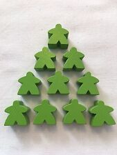 Wooden Meeples / Carcassonne Spares / Green - 16mm  x 10pc - UK SELLER! Free P&P