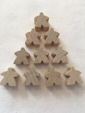 Wooden Meeples / Carcassonne Spares / Natural - 16mm x 10pc - UK BASED! Free P&P