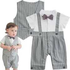 Baby Boys Suits Waistcoat Gentleman Striped Romper Vest Wedding party Outfit