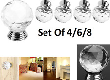 Door Knobs Set of 4-6-8 Small Crystal Cut Glass Drawer & Cupboard Pulls Passage