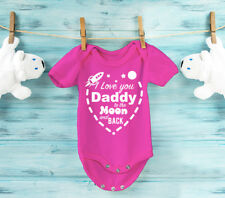 I love you Daddy to the moon and back pink baby grow bodysuit. Father's day gift