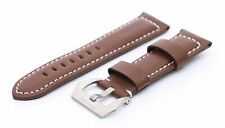 Brown Genuine Leather Strap/Band Buckle for Panerai Luminor Watch 20 22 24 26mm