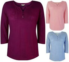 NEW Ex BHS 3/4 Sleeve Cotton Blend Casual Top Size 10 - 22 BNWT Blue Berry Pink