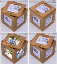 PERSONALISED WOODEN Oak Multiple PHOTO Frame Cube BOX Gift Idea For Fathers Day