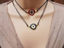 Fashion 2in1 Adjustable Choker Necklace Gift Unique Handmade Evil Eye Charm