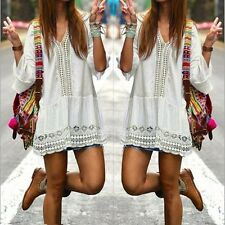 Bohemian Style Women Summer White Dress Sexy Casual V Neck 3/4 Flare Sleeve Lace