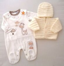 0-3 Months Hand Knitted Cardigan Hat Neutral Outfit Dungarees Top Giraffe