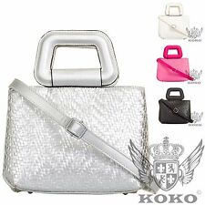 Ladies Designer Woven Style Top Handle Shoulder Clutch Bag Handbag Purse KT738