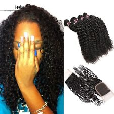 300g  CURLY + CLOSURE kinky wave Brazilian Virgin Human Hair Extensions 8A Weave