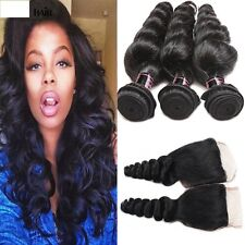 300g  LOOSE WAVE + CLOSURE CURLY Brazilian Virgin Human Hair Extensions 8A Weave