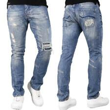 REDBRIDGE Herren Jeans Hose Premium Destroyed Cool Blue Denim Straight RAW WoW