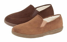 Mens Response Faux Suede Slippers with Fleece Lining and Thick Durable Soles