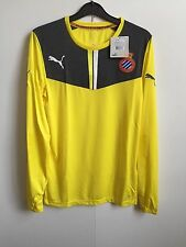 RCD Espanyol Puma Mens Goalkeeper L/S Football Shirt Jersey - Yellow - BNWT