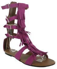 New Womens Buckle Up Pink Stunning Gladiator Tassle Sandals Shoes In UK Size 3-8