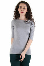 CHIMERA Grey Half Sleeve Solid 100% Cotton Round Neck T Shirt CHC1101AGRY