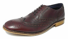 Mens Real Leather Lace Up Oxford Brogues Shoes OXBLOOD BURGUNDY 6 7 8 9 10 11 12