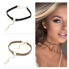 LEATHER CHOKER CHARM NECKLACE VINTAGE HIPPY CHOCKER RETRO BLACK LEATHER CORD NEW