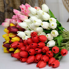 10Pcs Tulip Artificial Flower Silk Real Touch Wedding Party Bouquet Home Decor
