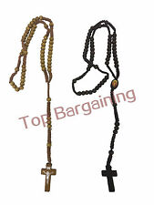 WOODEN JESUS ROSARY CROSS PENDANT CRUCIFX CHARM CHAIN BEAD HANDMADE NECKLACE