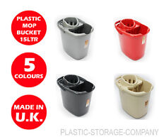 PLASTIC MOP BUCKET - TML - 15 LITRES - WRINGER INCLUDED - CHEAP - ALL COLOURS!!