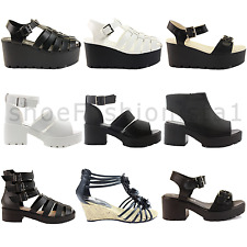 WOMENS LADIES STRAPPY ANKLE STRAP WEDGE MID HIGH HEEL PLATFORM SANDALS SHOE SIZE