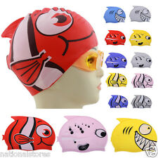 Kids Silicone Animal Fish Cartoon Child Swimming Bathing Head Cover Cap