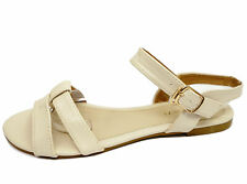 LADIES BEIGE FLAT STRAPPY GLADIATOR SUMMER SANDALS FLIP-FLOP COMFY SHOES UK 3-8