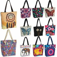 NEW LADIES CANVAS ELEPHANT FLORAL ABSTRACT PRINT HIPPY BOHO BEACH TOTE BAG