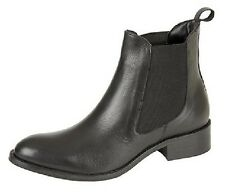 Mod Comfys Leather Twin Gusset Chelsea Slip On Ankle Boots Black Nappa Leather
