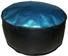 HANDMADE POUFFE TURQUOISE FABRIC FAUX LEATHER  FLOOR CUSHION FOOTREST BEANBAG