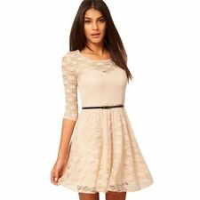 Women Summer Wear Pleated Lace Cut Out O-Neck Slim Belted Mini Dress
