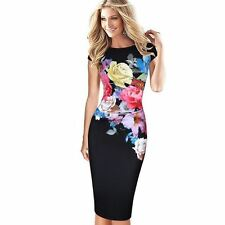 Women Fashion Flower Printed Ruched Ruffle Casual Evening Party Dress