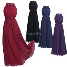Lady Womens Dress Sequins Halter Long Chiffon Dress Bridesmaid Evening Prom Gown