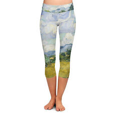 Vincent Van Gogh Fine Art Painting Yoga Capri Leggings Low Rise 3/4 Length XS-3X