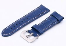 Blue Genuine Leather Strap/Band Buckle for Officine Panerai Watch 20 22 24 26mm