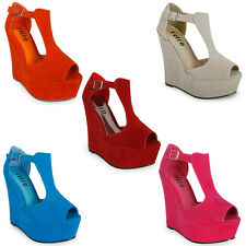 28A NEW WOMENS FAUX SUEDE PEEP TOE LADIES STRAPPY WEDGE HEEL SHOES SIZE 3-8 UK